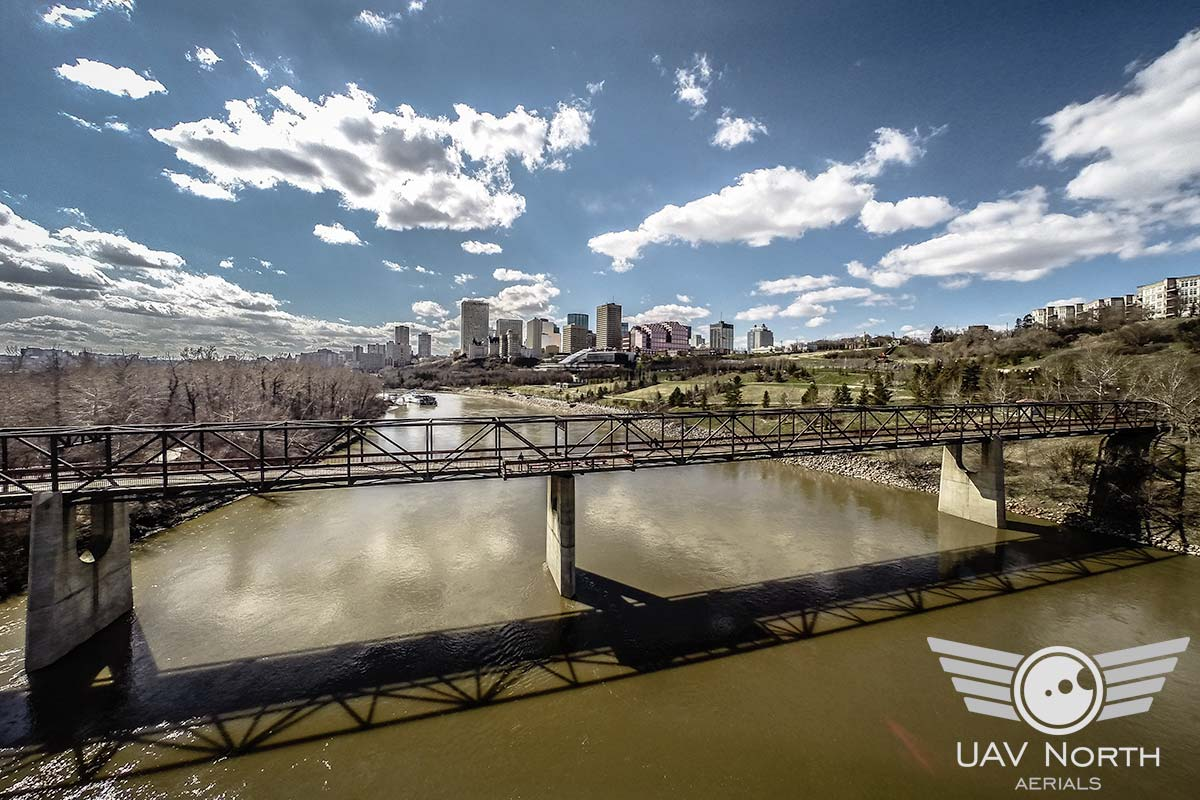 Aerial photo of the North Saskatchewan River and Downtown Edmonton