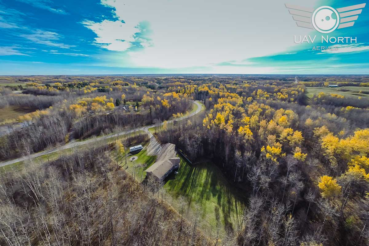 Aerial photo of a Stony Plain acreage