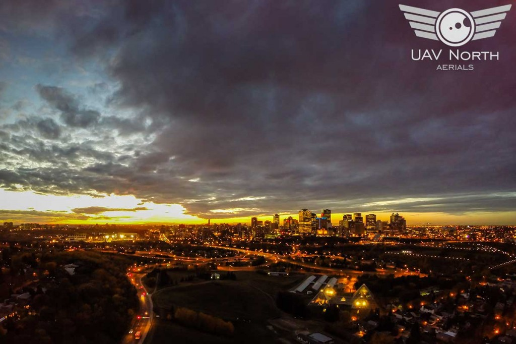 Downtown Edmonton Aerial Sunset Photo