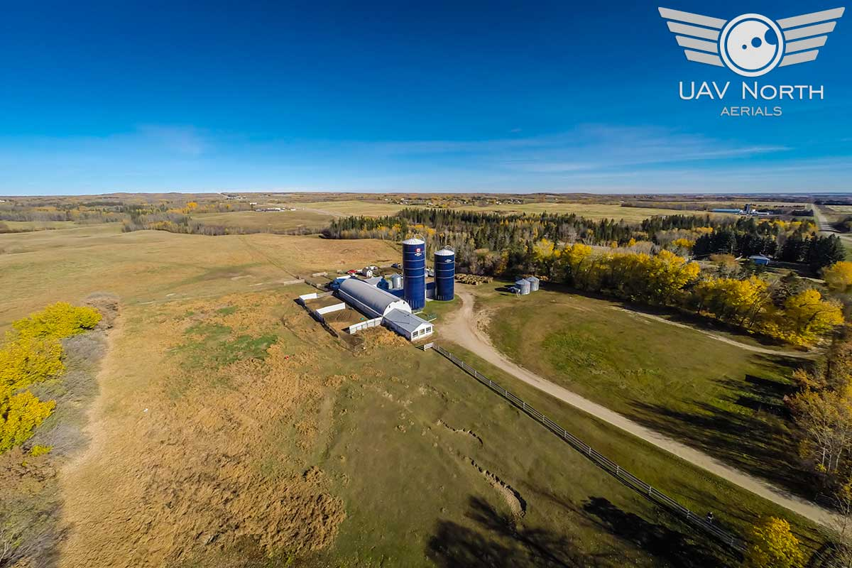 Aerial photo of Canadian farm silos