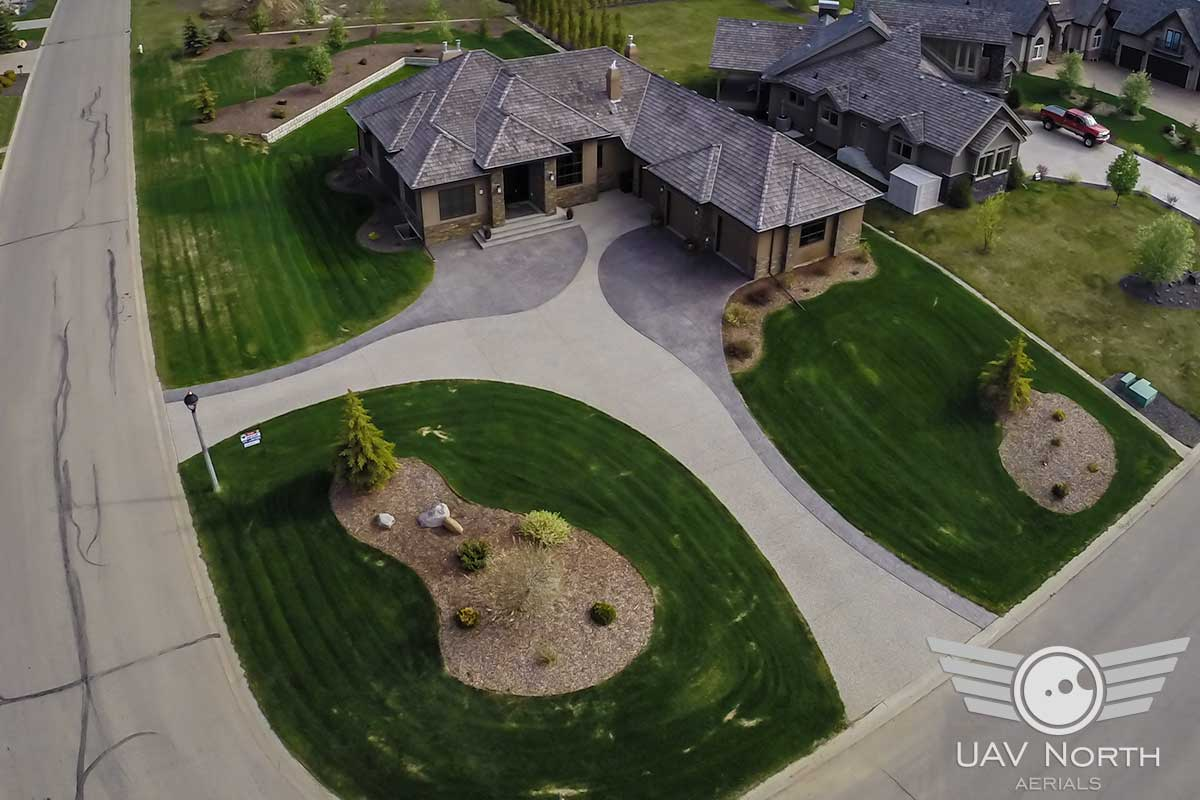 Aerial photo from higher up of a St. Albert real estate listing