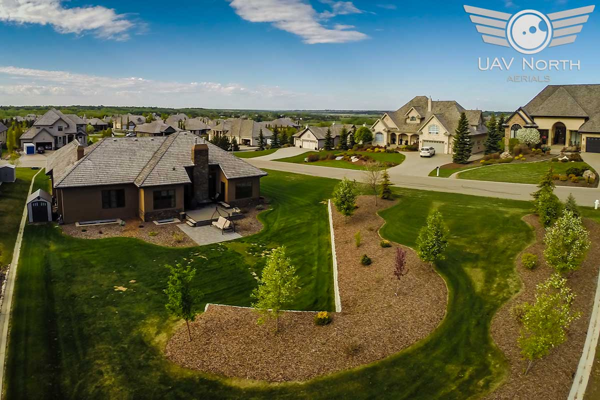 Aerial photo of the back yard of a St. Albert real estate listing