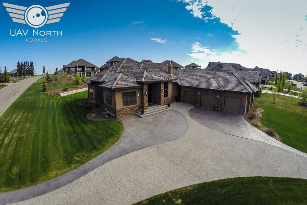 Aerial photo of the front yard of a St. Albert real estate listing