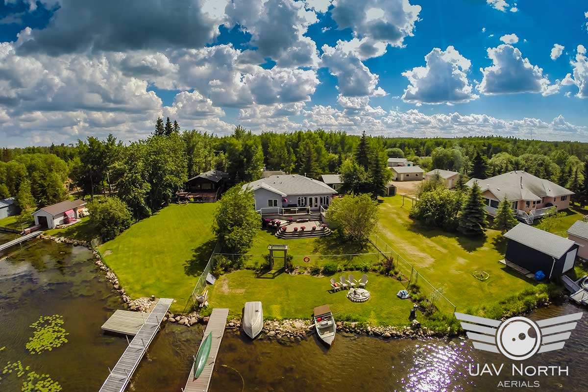 Aerial photo and video of a Wizard Lake lakefront property