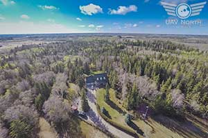 Aerial photo of an Edmonton acreage that feels like a park!