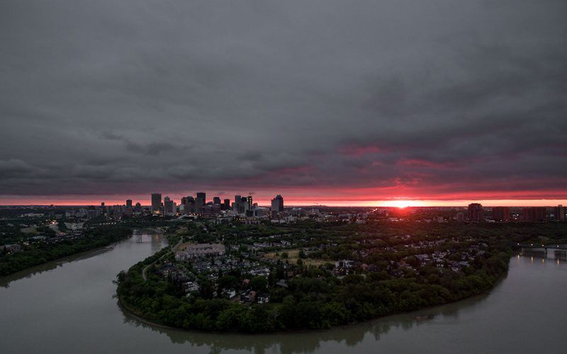 Edmonton Sunset Aerial Photo