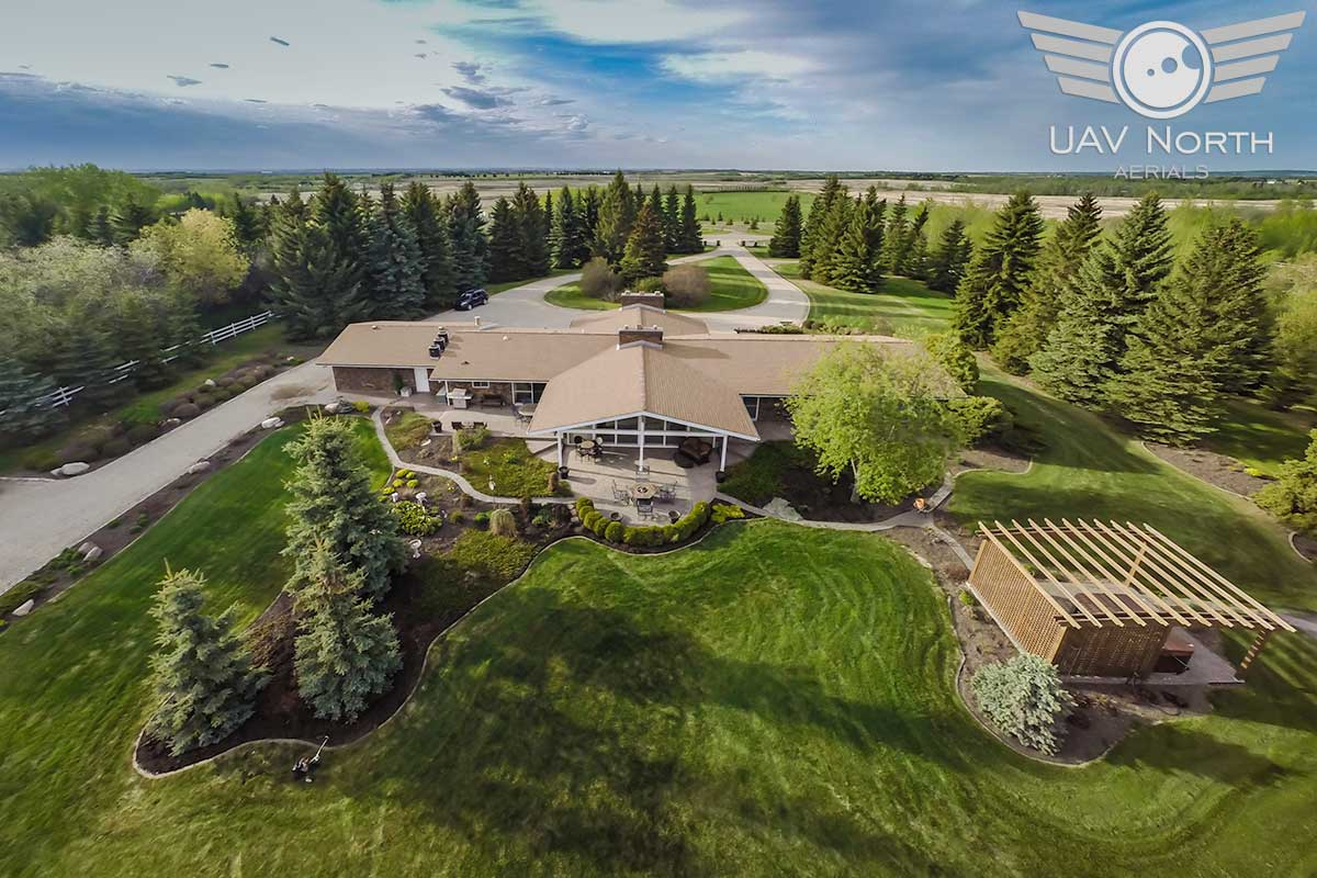 Aerial photo of a rural property east of Edmonton