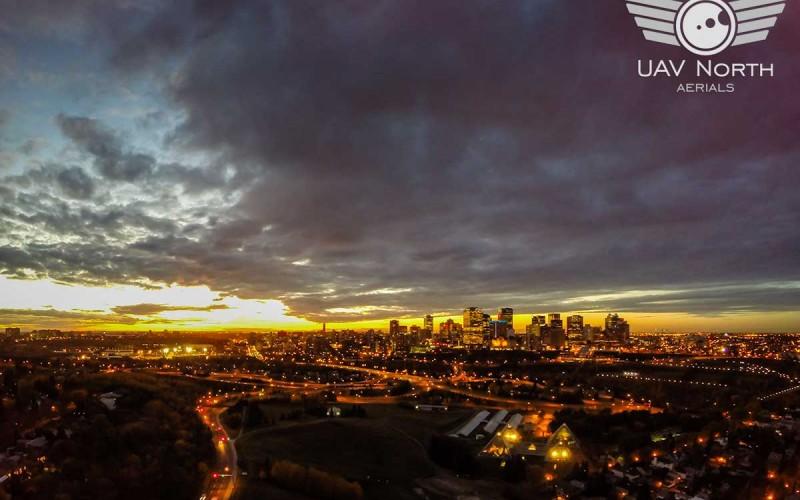 Aerial Sunset Photo of Downtown Edmonton