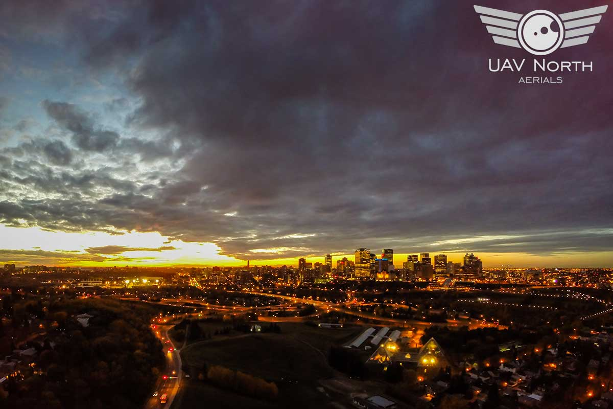 Downtown Edmonton Aerial Sunset Photo