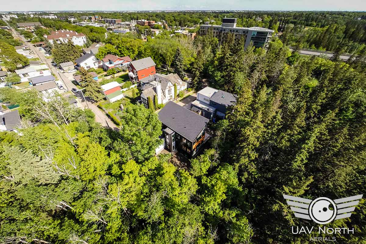 Aerial photo of a real estate listing on Mill Creek Ravine