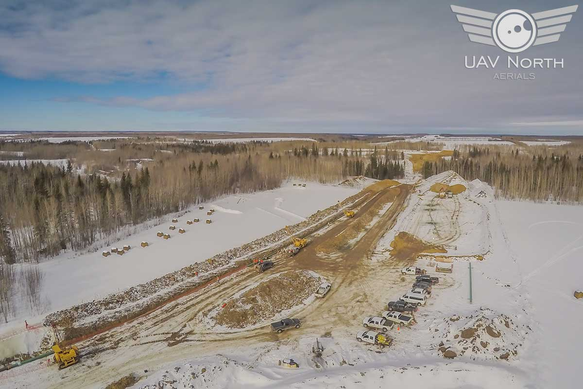 Alberta oilfield aerial photo of the pipeline