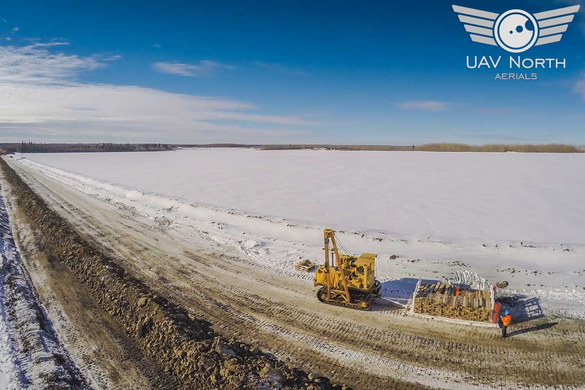 Alberta oilfield pipeline aerial photo