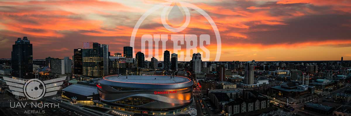 Downtown Edmonton Aerial Panorama and Oilers Logo