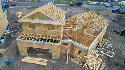 Residential Home Construction Progress Drone Photo