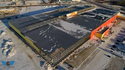 Warehouse Construction Progress Drone Photo